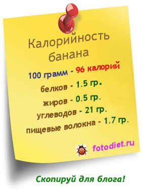 1 банан калорийность